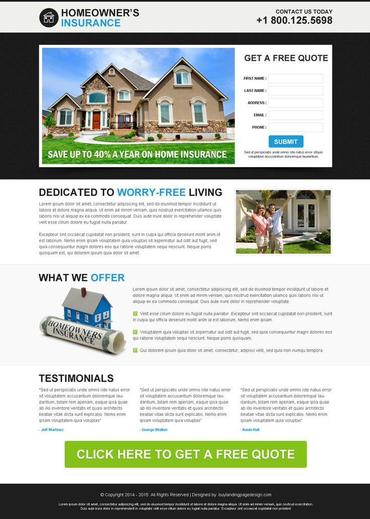 Best Insurance Service For Home Owners Lead Capture Responsive Landing Page  Design Template