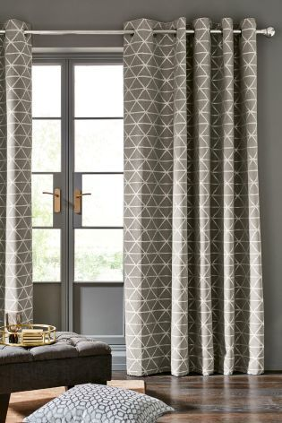 Buy Dove Triangle Woven Geo Eyelet Curtains from the Next UK online shop