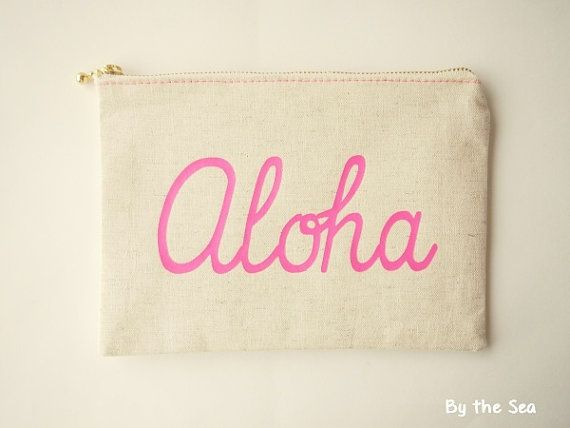 Cotton linen Canvas Pouch zipper cosmetic pouch  by BytheSeajewel