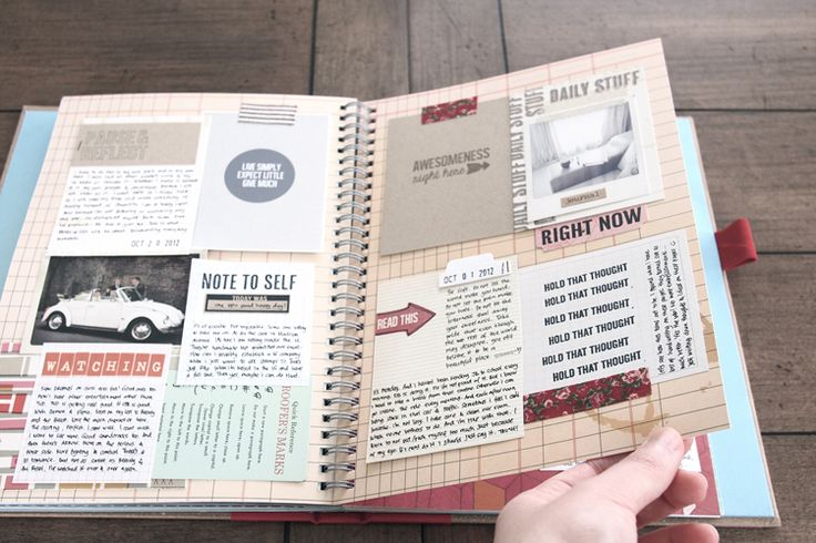 using journaling cards in a smash book -- great idea!