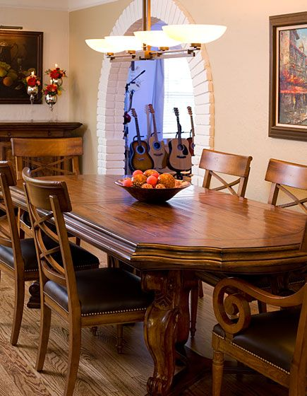 This traditional dining room is both casual and