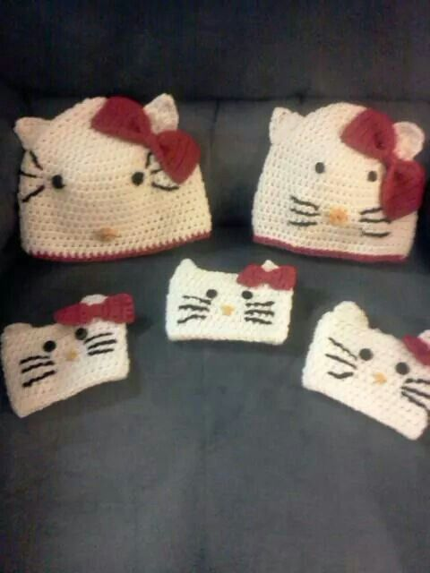 Hello Kitty inspired hats and cozies