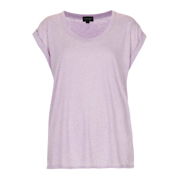 TOPSHOP V Neck Burnout Tee (£3) found on Polyvore featuring women's fashion, tops, t-shirts, shirts, topshop, purple, lilac, v-neck shirts, purple shirt and vneck t shirts