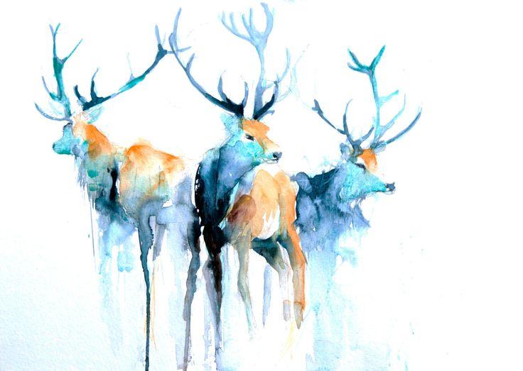 Se trata de una copia de mi original acuarela pintura highland ciervos. I firmar cada impresión individual y colocar en una bolsa de celofán. La impresión viene desmontado y sin marco, listo para agregar un marco de su elección y montaje.