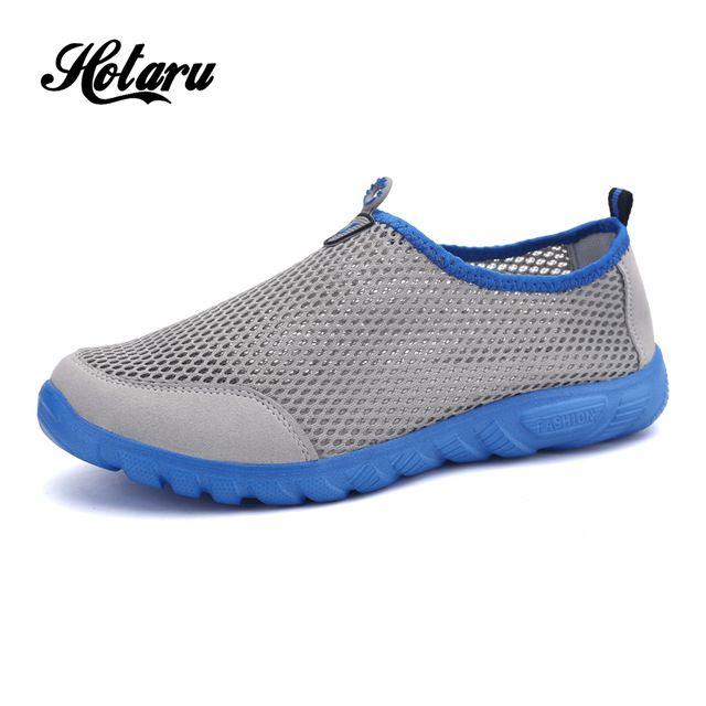 Mens Formadores Branco Fundo Vermelho Flats Preguiçosos Sapatos Respirável Oco Malha Aérea Homens Super Leve Quick-secagem Da Água Da Praia sapatos