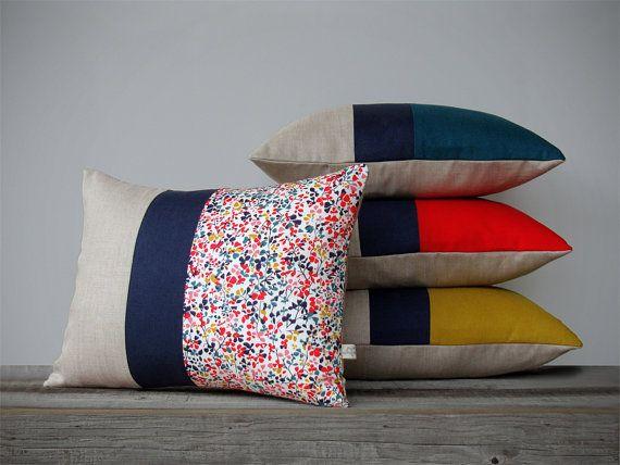 Modern Colorblock Pillow and Liberty Print Pillow Set (Set of 4) Modern Home Decor by JillianReneDecor - Mustard Poppy Teal - Spring Floral