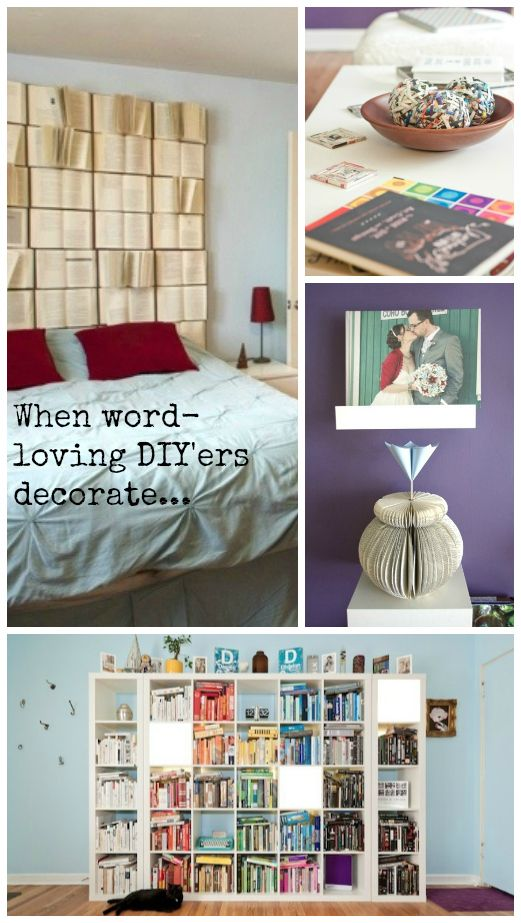 Decorating with books ... DIY  #repurposebooks #bookdecor  Sam: I do agree with the original pinner, though... there's something both awesome and sad about re-purposed books.