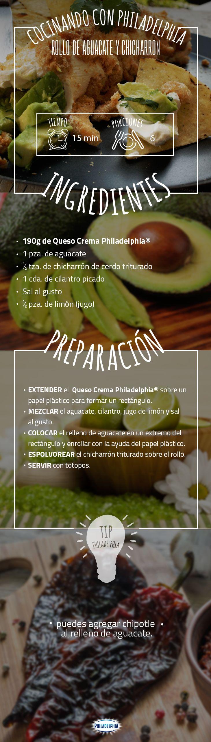 Ya es mitad de semana y toca disfrutar esta deliciosa receta con todos en casa.  #recetas #quesophiladelphia  #philadelphia  #chicharrón #aguacate #rollos #comida