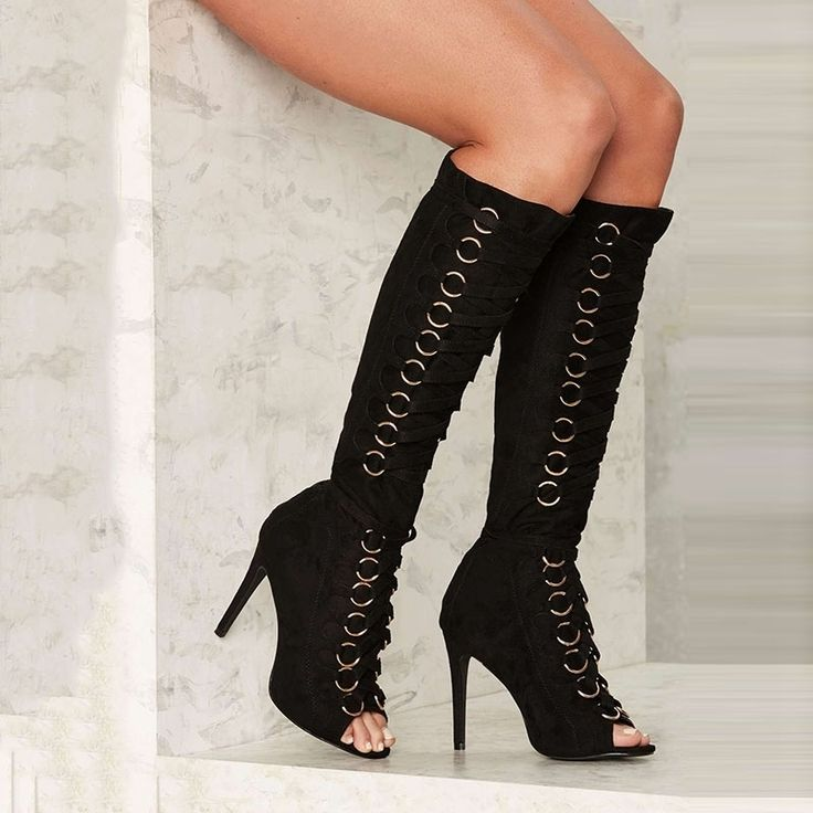 Shoespie Chic Black Metal Circle Lace Up Knee High Stiletto Boots