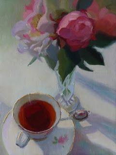 """""""Fragrant Tea"""" by Charmaine P Jackson. Oil on 8""""x6"""" linen."""