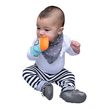 Yummy Mitt Teething Mitten - Blue and Orange (3-12 months)- NON GLOW- No More Dropping Teethers (Mom Invented)- 100% Cotton (not polyester) & 100% Food Grade Silicone: Amazon.co.uk: Baby