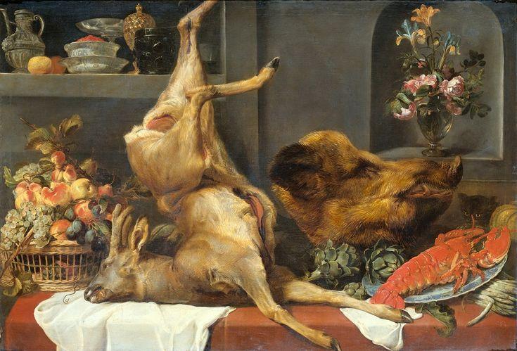 Натюрморт с косулей, кабаньей головой, омаром и фруктами (ок.1657) (Амстердам, Гос.музей).