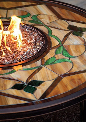 Imperial Stained Glass Fire Table.Glasses Firepit, Stainedglass, Fire Tables, Glasses Ideas, Glasses Inspiration, Firepit Tables, Imperial Stained, Fire Pit, Stained Glasses