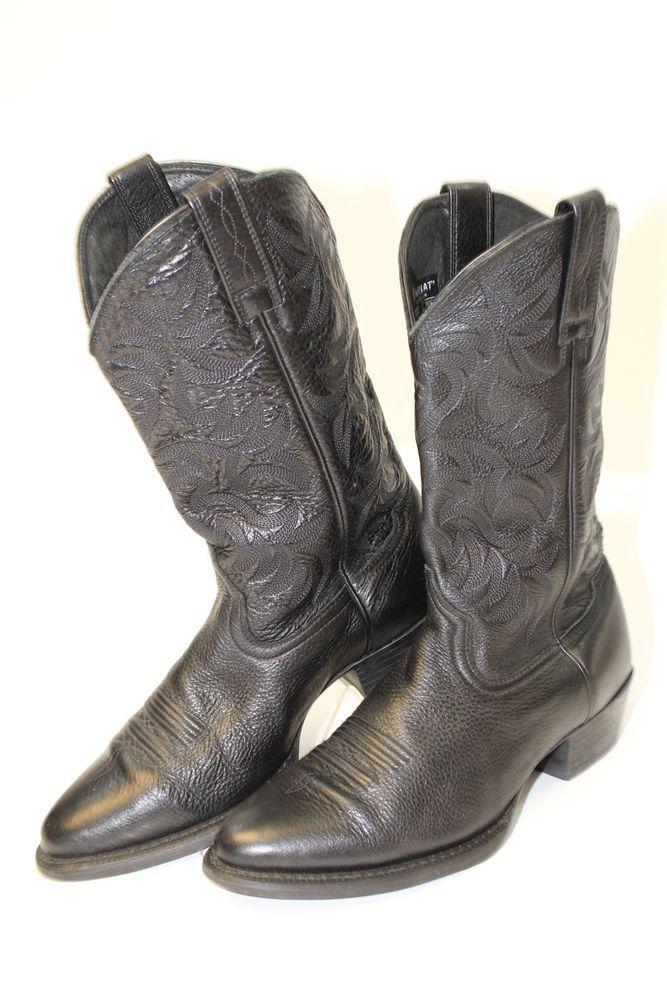 9492c9279be2d Ariat Mens 11 EE Heritage Deertan Black Leather Cowboy Boots ...