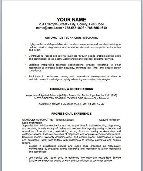 auto mechanic resume template httptopresumeinfoauto mechanic - Resume For Auto Mechanic