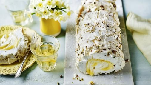 Lemon curd and pistachio meringue roulade