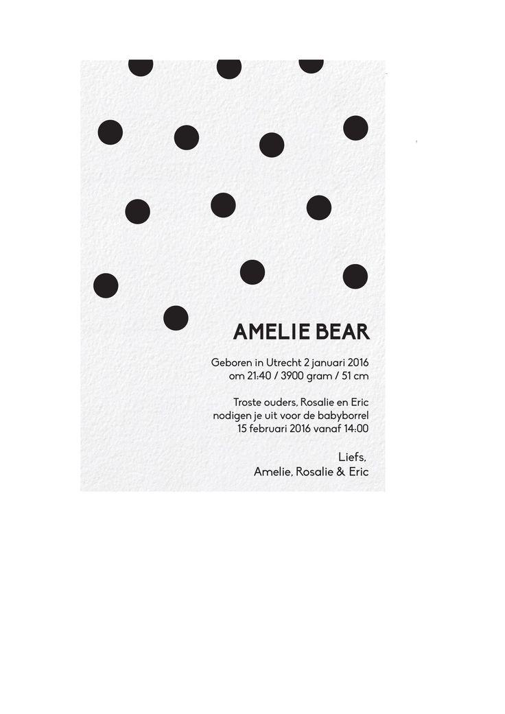 Amelie Bear  Geboortekaartje www.studionoukkaartjes.com  eenvoudig, klassiek, dot, minimal, black-white