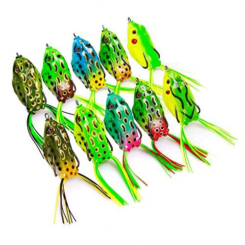 PLUSINNO Frog Fishing Lures for Bass Fishing Tackle with Box,Topwater Floating Frog Lures Set Soft Freshwater Saltwater 10pcs  http://fishingrodsreelsandgear.com/product/plusinno-frog-fishing-lures-for-bass-fishing-tackle-with-boxtopwater-floating-frog-lures-set-soft-freshwater-saltwater-10pcs/  PLUSINNO frog fishing lures for bass create life-like swimming actions in water,perfectly replicates a real frog or bullfrog. Super soft bass lures body increases hook-up percentage,