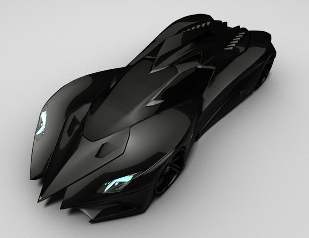 Lamborghini Ferrucio concept car - looks like the Batmobile to me.  The white version looks like the Mach 5...