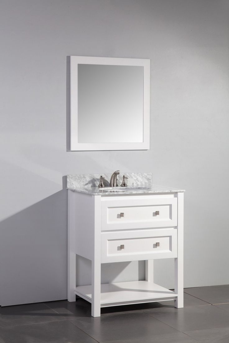 Contemporary 30 Inch Single Sink Bathroom Vanity Set White Finish