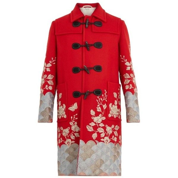 Gucci Floral-embroidered wool overcoat ($7,500) ❤ liked on Polyvore featuring men's fashion, men's clothing, men's outerwear, men's coats, red, mens bear skin coat, gucci mens coat, mens wool toggle coat, mens wool coats and mens toggle coat
