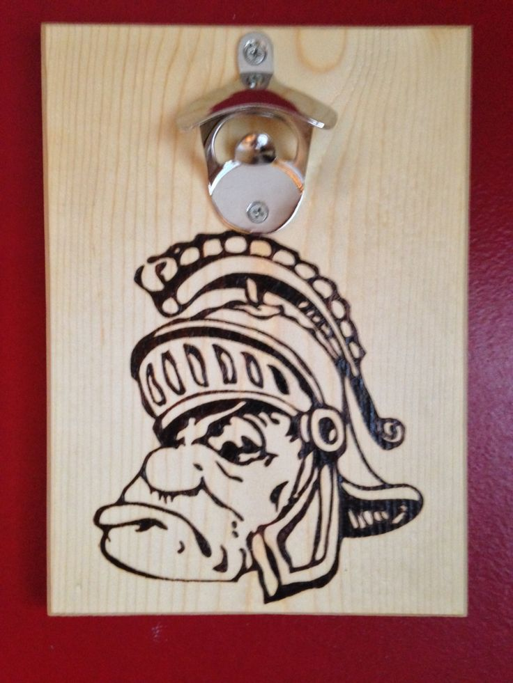 Michigan state spartans wood burned bottle opener wall mounted w magnetic cap