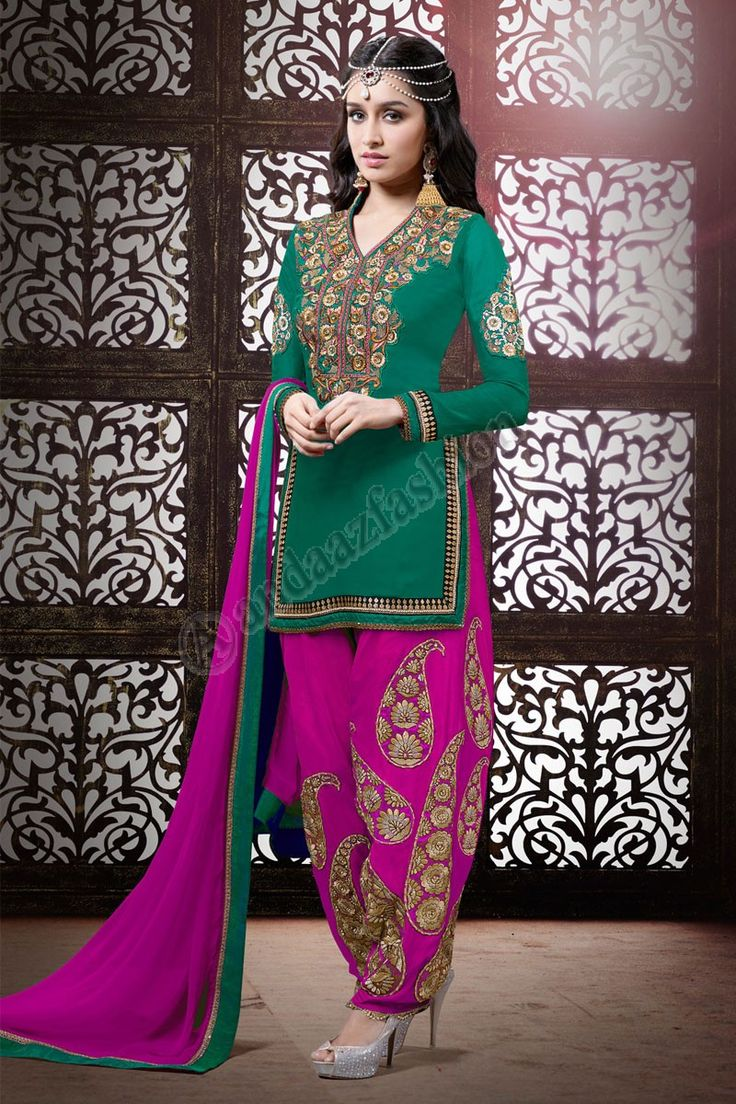 Georgette Vert Anarkali Ensemble Churidar Conception no- DMV12835 Prix- 119,84 € Type de robe: Patiala Suit Tissu: Georgette Couleur: Vert Décoration: brodé, Resham, pierre, travail Zari Pour plus de détails: