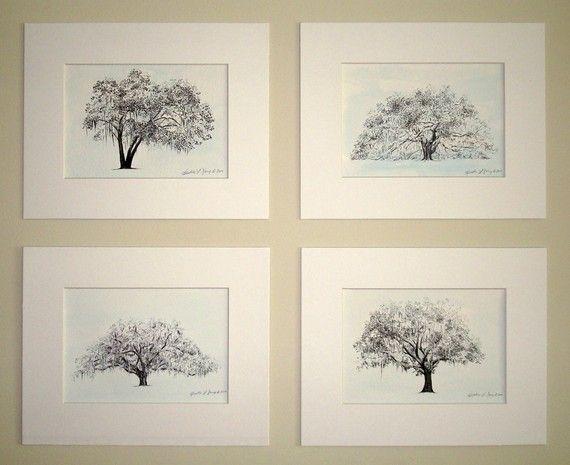Majestic Live Oak Tree Drawing in Icy Blue Savannah by theinklab