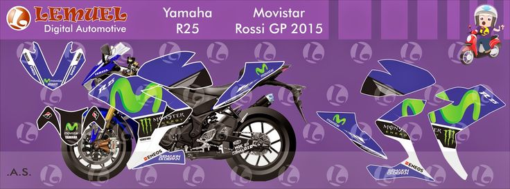Decal Vinyl Striping Motor Full Body Yamaha R25 Thema Movistar Livery Berkualitas by DIGITIVE