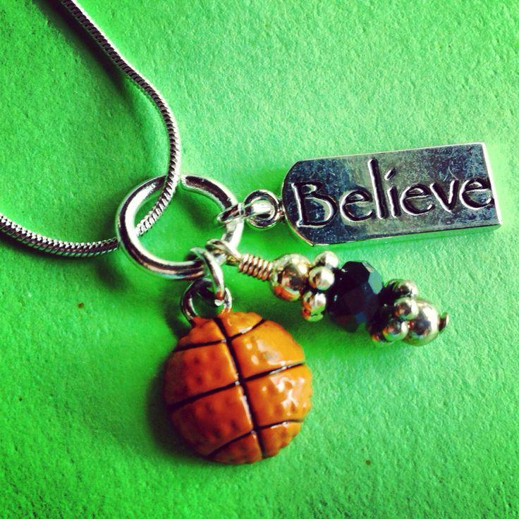 Sporty Girl Basketball Necklace Believe