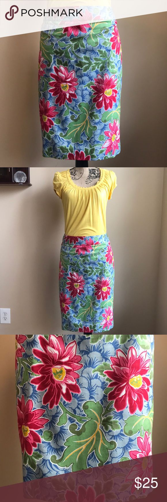 ? Floral Print Happy Pencil Skirt Great Length ? Great length Pencil skirt…