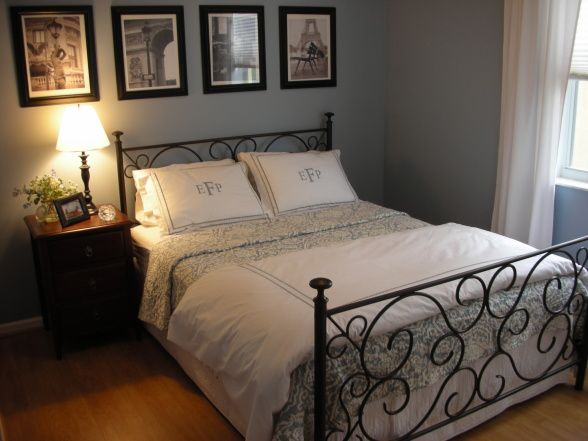 Calming blue guest room, This is my favorite room in our house. Its a really small bedroom so I kept it very simple. The paint color is BM Nantucket Fog - love it!, Bedrooms Design