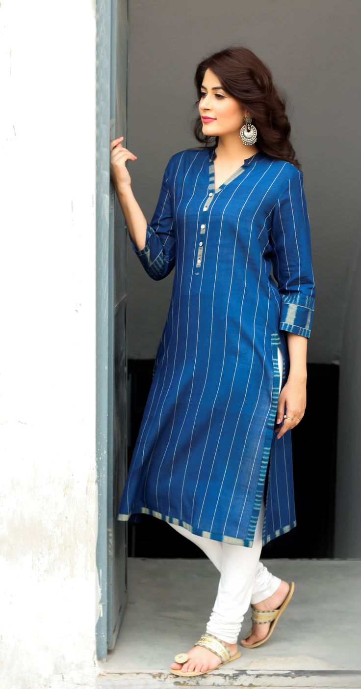 #kurta #churidar #blue #stripes #jhumka #silver #earrings #jewellery #white #leather #footwear #WomensWear #fashion #Fabindia