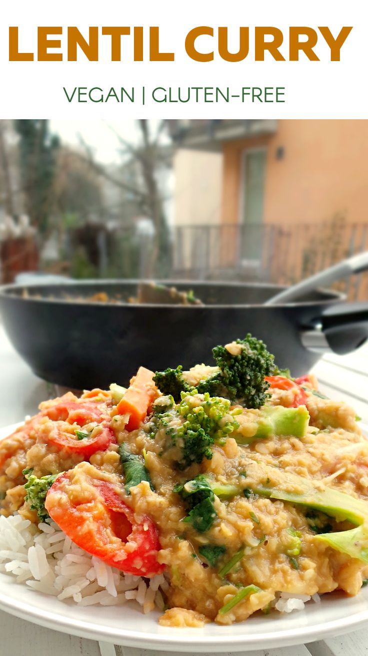 VEGAN COCONUT LENTIL CURRY. Healthy and easy dinner, that is also vegan and…
