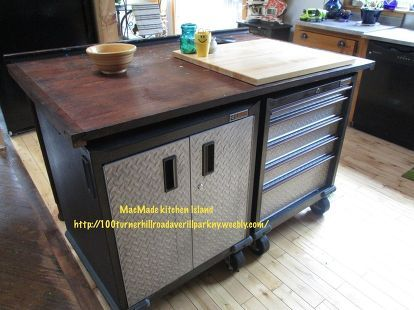 tool chest kitchen island, kitchen design, kitchen island, repurposing upcycling, tools