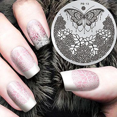 2016 dernier modèle version mode fleur papillon ongles art plaques de modèle d'image estampage de 5375416 2017 à €1.72