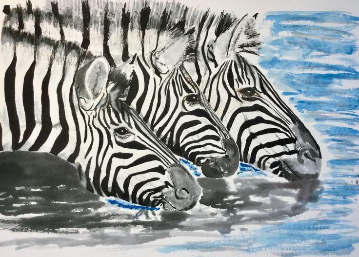 Spot the Zebra?...... #art #watercolour #pen & ink #Zebra