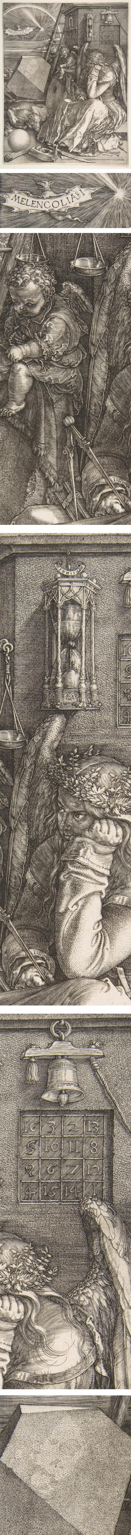 "One of the most iconic engravings by one of art's great printmakers, Melelcolia (an archaic spelling of melancholia) is filled with symbols of alchemy and carpentry (architecture), along with various measuring tools, an hourglass, a polyhedron and a ""magic square"" — the rows of which add up to 34 in all directions."