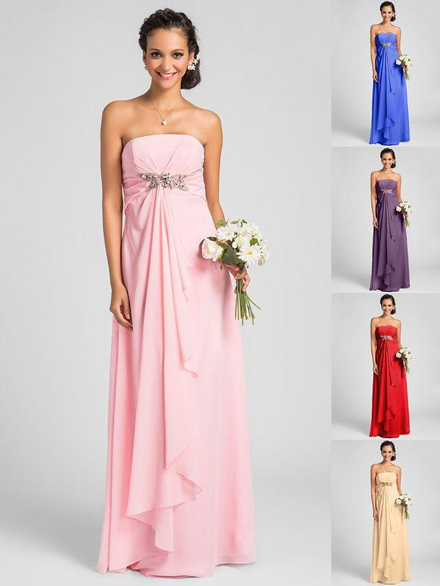Floor-length Chiffon Bridesmaid Dress - Candy Pink / Royal Blue / Ruby / Champagne / Grape Plus Sizes / Petite Sheath/Column Strapless - USD $75.99