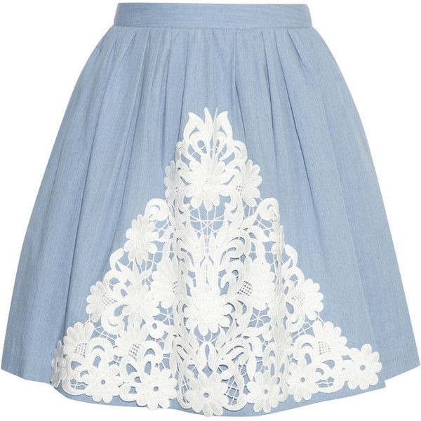 Moschino Cheap and Chic Lace-appliquéd cotton-chambray skirt found on Polyvore