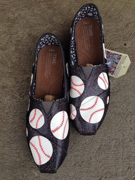 Hand painted baseball slip on shoes. Perfect gift for baseball lovers, sports moms, coaches and more.