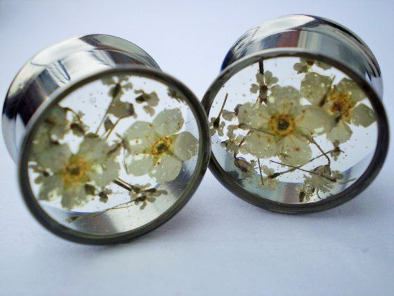 Plugs Floral Real Flower Ear Gauge Natural Girly by HandmadeAt62