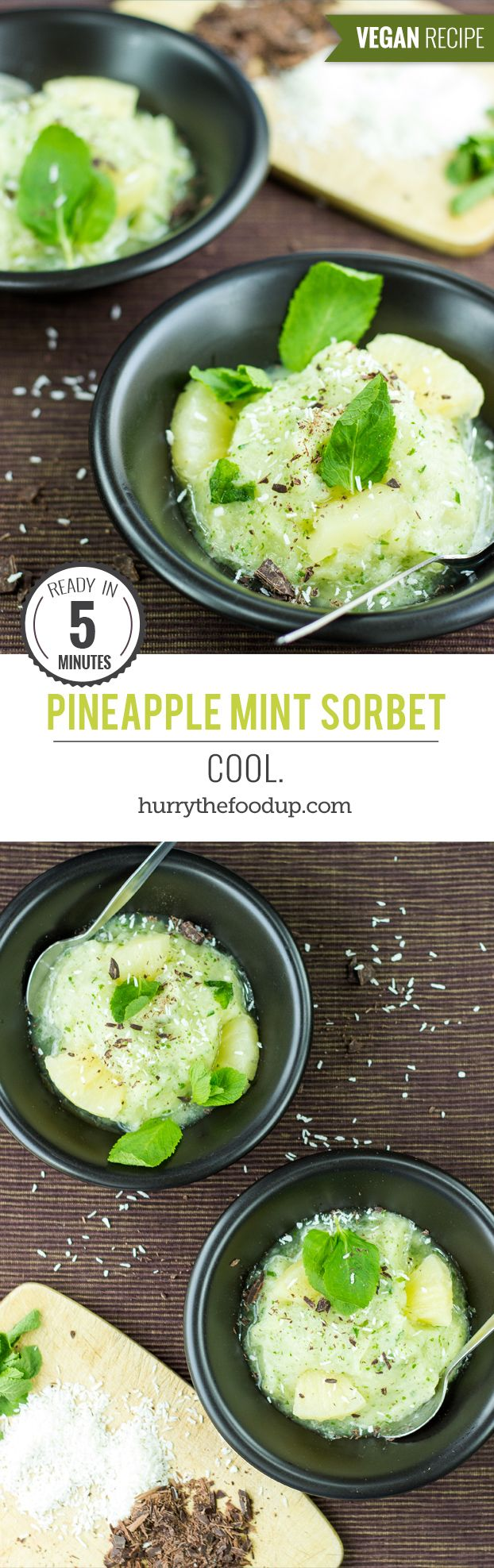 2 Ingredient Pineapple Sorbet. Cool. #dessert #sorbet | hurrythefoodup.com