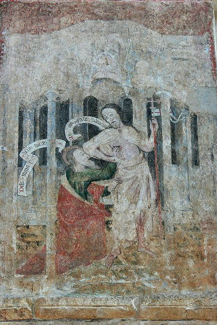 Part of a lost sequence known as the 'History of the Resurrection' this image of doubting Thomas is probably mid 14th century. It was discovered in 1846, in the north transept of Saint Albans Cathedral beneath whitewash.