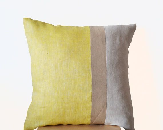 Yellow Pillow Large Throw Pillows color block Euro by AmoreBeaute