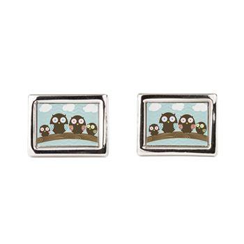 Owl Family Rectangular Cufflinks from cafepress store: AG Painted Brush T-Shirts. #owl #cufflinks #owls