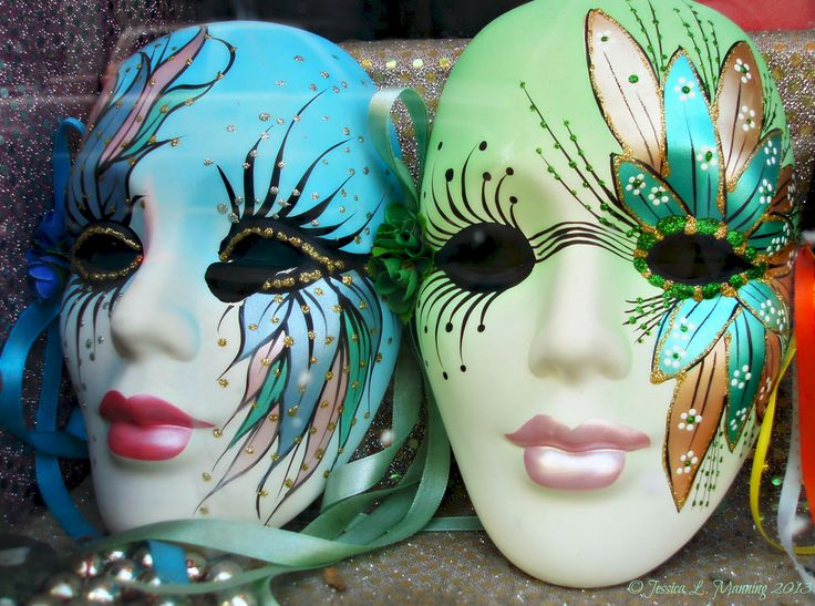 Colorful Mardi Gras masks in New Orleans, La. More