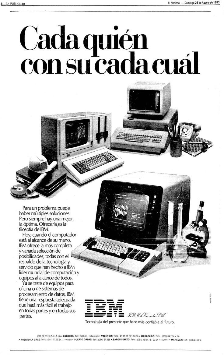 Publicidad de Computadoras IBM. Publicado el 28 de agosto