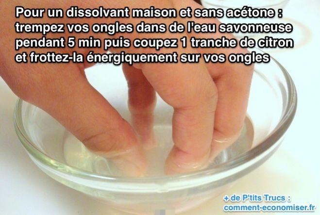 Que diriez-vous d'utiliser du citron comme dissolvant maison sans acétone ? C'est un dissolvant économique et naturel :-)  Découvrez l'astuce ici : http://www.comment-economiser.fr/dissolvant-maison-sans-acetone-naturel-citron-truc.html?utm_content=buffer3d78e&utm_medium=social&utm_source=pinterest.com&utm_campaign=buffer