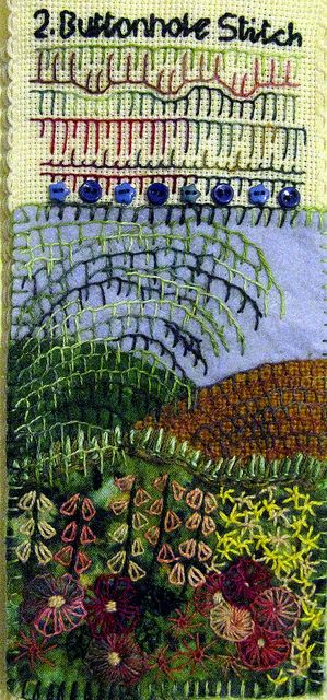 Beautiful buttonhole stitch postcard.